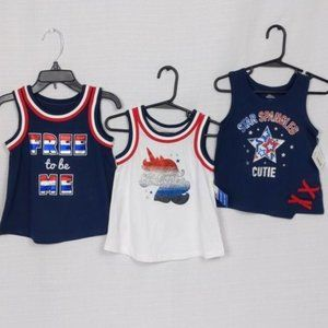 Lot of 3 - Patriotic girls size 3T shirts (NWT)